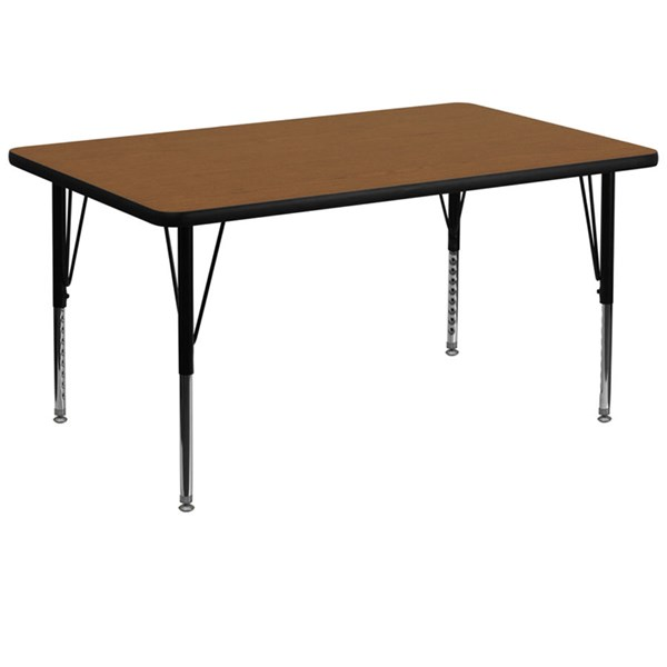 36 W X 72 L Rectangular Activity Table W/Oak Top & Pre-School Legs FLF-XU-A3672-REC-OAK-H-P-GG