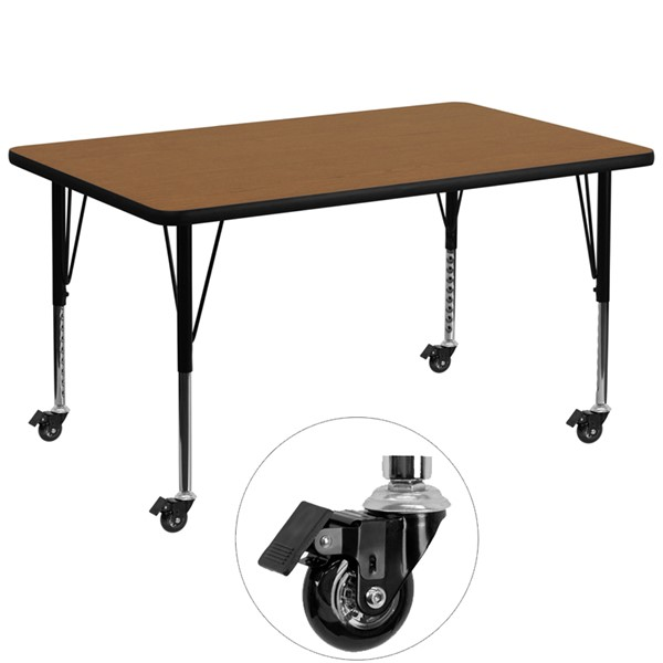 Flash Furniture Mobile 36 X 72 Activity Table with Oak Thermal Fused Laminate Top FLF-XU-A3672-REC-OAK-T-P-CAS-GG