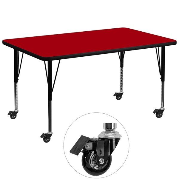 Flash Furniture Mobile 36 X 72 Activity Table with Red Thermal Fused Laminate Top FLF-XU-A3672-REC-RED-T-P-CAS-GG