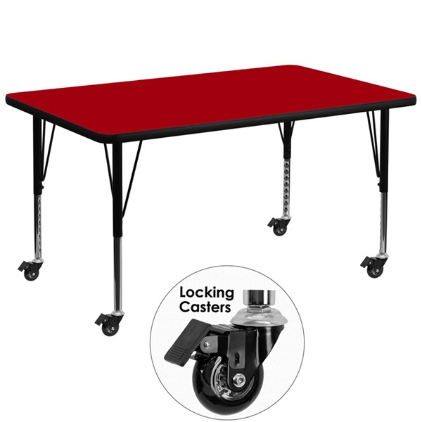 Mobile 36 x 72 Activity Table with Red Thermal Fused Laminate Top FLF-XU-A3672-REC-RED-T-P-CAS-GG