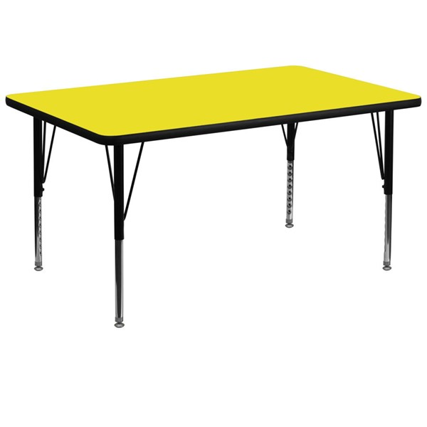 Flash Furniture Yellow Laminate Top Rectangular Activity Table with Pre-School Legs FLF-XU-A3672-REC-YEL-H-P-GG