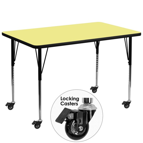 Flash Furniture Mobile 36 X 72 Yellow Activity Table with Thermal Fused Laminate Top FLF-XUA3672-REC-YEL-TACAS-GG