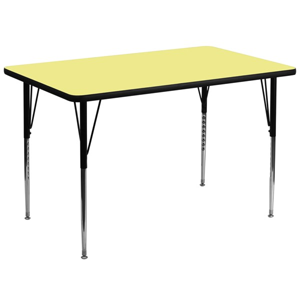 Yellow Metal Wood Rectangle Activity Table FLF-XU-A3672-REC-YEL-T-A-GG