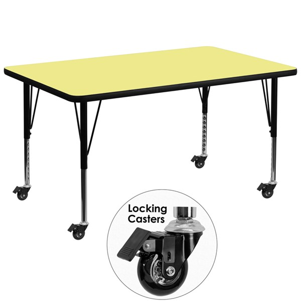 Mobile 36 x 72 Activity Table with Yellow Thermal Fused Laminate Top FLF-XU-A3672-REC-YEL-T-P-CAS-GG