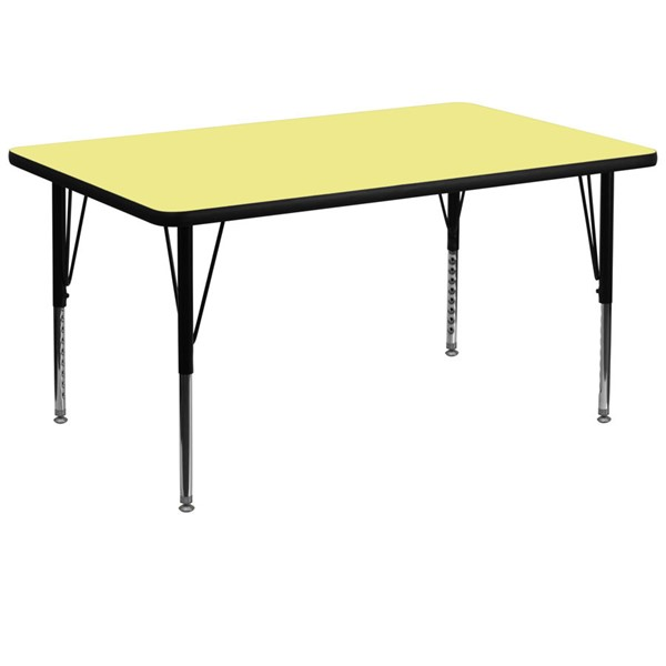 Flash Furniture 36 X 72 Rectangular Activity Table with Yellow Thermal Fused Laminate Top FLF-XU-A3672-REC-YEL-T-P-GG