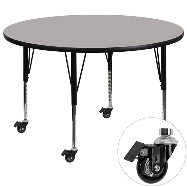 Flash Furniture Mobile 42 Inch Round Activity Table with Grey Laminate Top FLF-XU-A42-RND-GY-H-P-CAS-GG