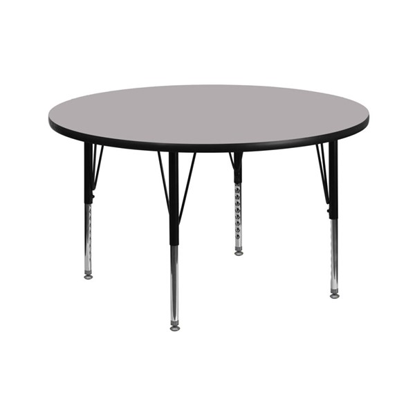 Flash Furniture 42 Inch Round Table with Grey Thermal Fused Top and Pre-School Legs FLF-XU-A42-RND-GY-T-P-GG