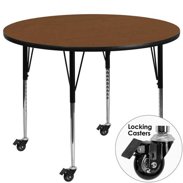 Mobile 42 Inch Round Activity Table With Laminate Top FLF-XU-A42-RND-H-A-CAS-GG-KDSK-VAR