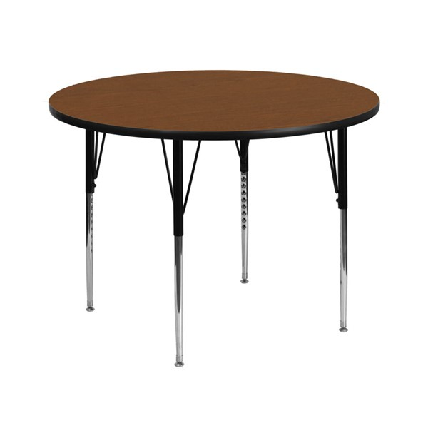 Flash Furniture 42 Inch Round Activity Table with Oak Top and Adjustable Legs FLF-XU-A42-RND-OAK-H-A-GG