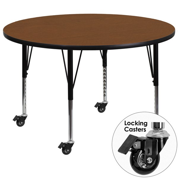 Flash Furniture Mobile 42 Inch Round Activity Table with Laminate Top FLF-XU-A42-RND-H-P-CAS-GG-KDSK-VAR