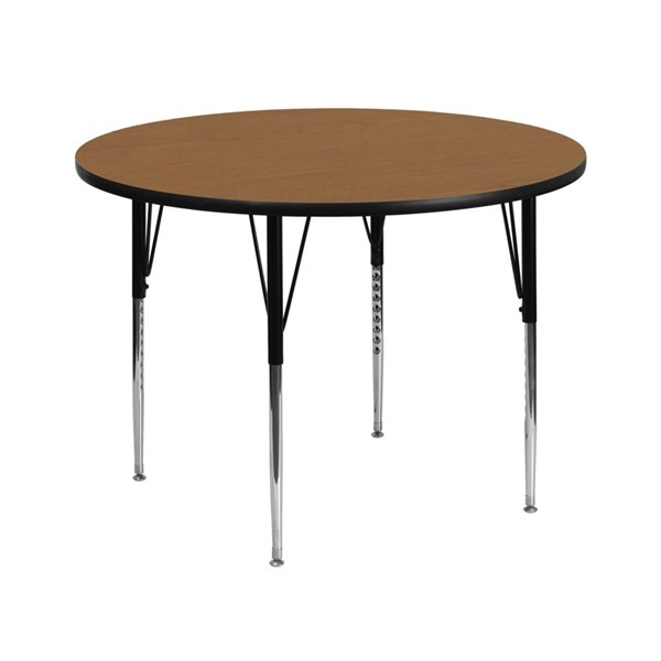 Flash Furniture 42 Inch Round Activity Table with Oak Thermal Fused Top and Adjustable Legs FLF-XU-A42-RND-OAK-T-A-GG