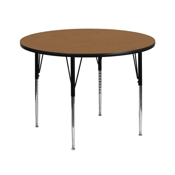 42 Inch Round Activity Table W/Oak Thermal Fused Top & Adjustable Legs FLF-XU-A42-RND-OAK-T-A-GG
