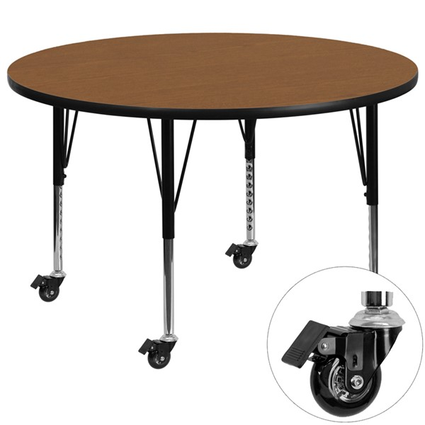 Flash Furniture 42 Inch Round Activity Table with Oak Thermal Fused Laminate Top FLF-XU-A42-RND-OAK-T-P-CAS-GG