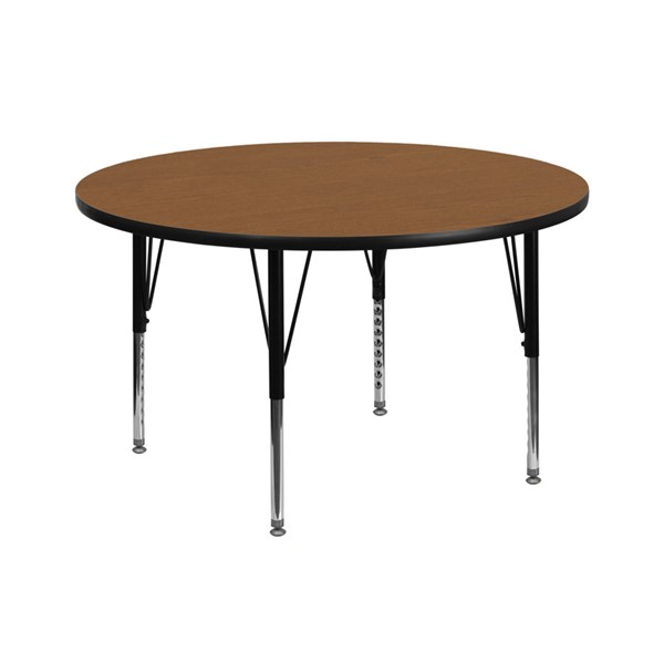 Flash Furniture 42 Inch Round Activity Table with Oak Thermal Fused Top and Pre-School Legs FLF-XU-A42-RND-OAK-T-P-GG