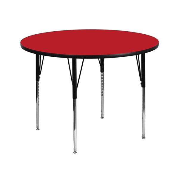 42 Inch Round Activity Table W/Red Top & Adjustable Legs FLF-XU-A42-RND-RED-H-A-GG