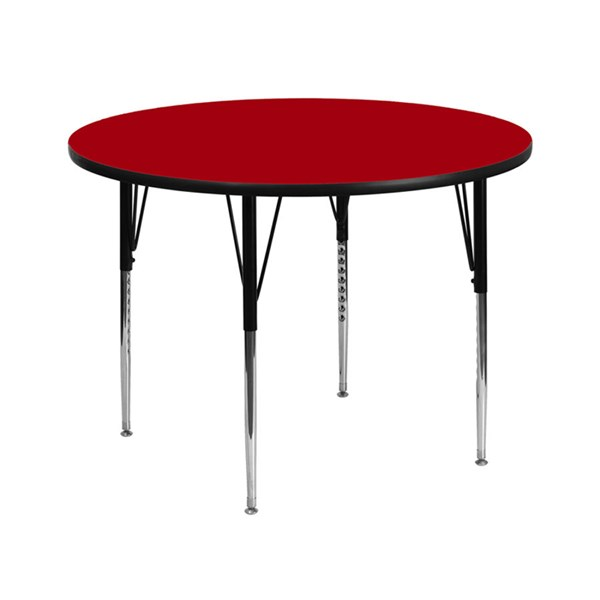 42 Inch Round Activity Table W/Red Thermal Fused Top & Adjustable Legs FLF-XU-A42-RND-RED-T-A-GG