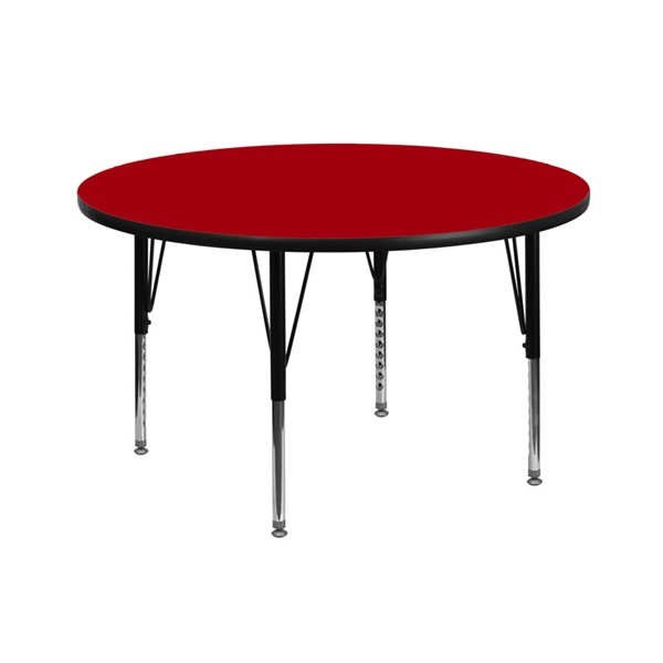 Flash Furniture 42 Inch Round Activity Table with Red Thermal Fused Top and Pre-School Legs FLF-XU-A42-RND-RED-T-P-GG