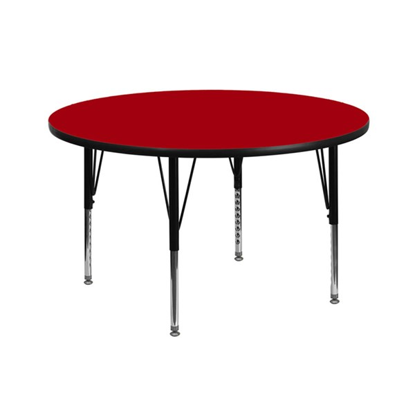 42 Inch Round Activity Table W/Red Thermal Fused Top & Pre-School Legs FLF-XU-A42-RND-RED-T-P-GG