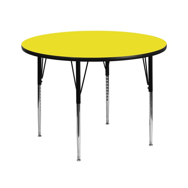 42 Inch Round Activity Table W/Yellow Top & Adjustable Legs FLF-XU-A42-RND-YEL-H-A-GG
