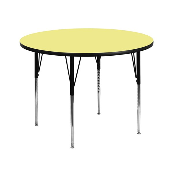 42 Inch Round Table W/Yellow Thermal Fused Top & Adjustable Legs FLF-XU-A42-RND-YEL-T-A-GG