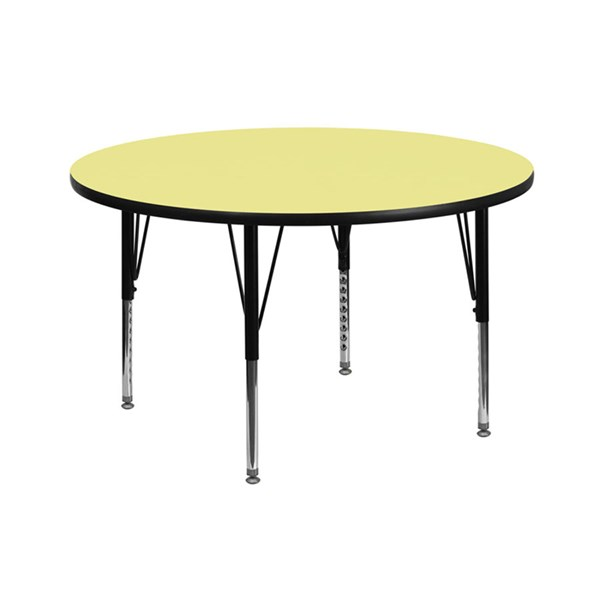 42 Inch Round Table W/Yellow Thermal Fused Top & Pre-School Legs FLF-XU-A42-RND-YEL-T-P-GG