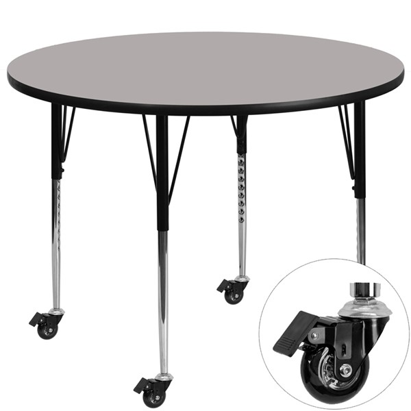 Flash Furniture Mobile 48 Inch Round Activity Table with 1.25 Inch Grey Laminate Top FLF-XU-A48-RND-GY-H-A-CAS-GG