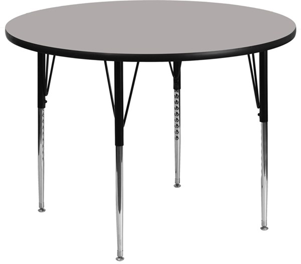 48 Inch Activity Table W/1.25 Inch Thick High Pressure Grey Top FLF-XU-A48-RND-GY-H-A-GG