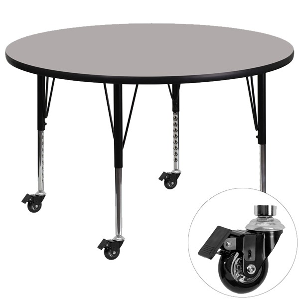 Flash Furniture Mobile 48 Inch Round Activity Table with 1.25 Inch Thick Grey Laminate Top FLF-XU-A48-RND-GY-H-P-CAS-GG