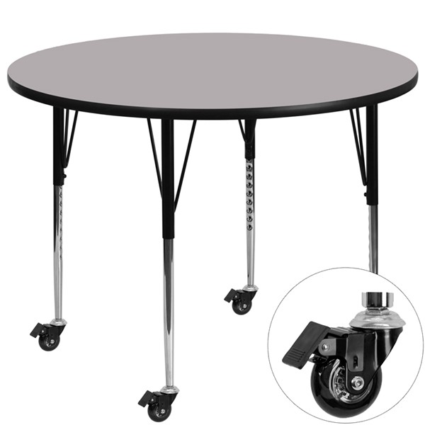 Flash Furniture Mobile 48 Inch Round Activity Table with Grey Thermal-Fused Laminate Top FLF-XU-A48-RND-GY-T-A-CAS-GG