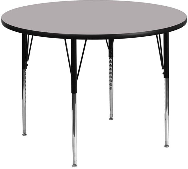 Gray Metal Wood Round Adjustable Legs Activity Table FLF-XU-A48-RND-GY-T-A-GG