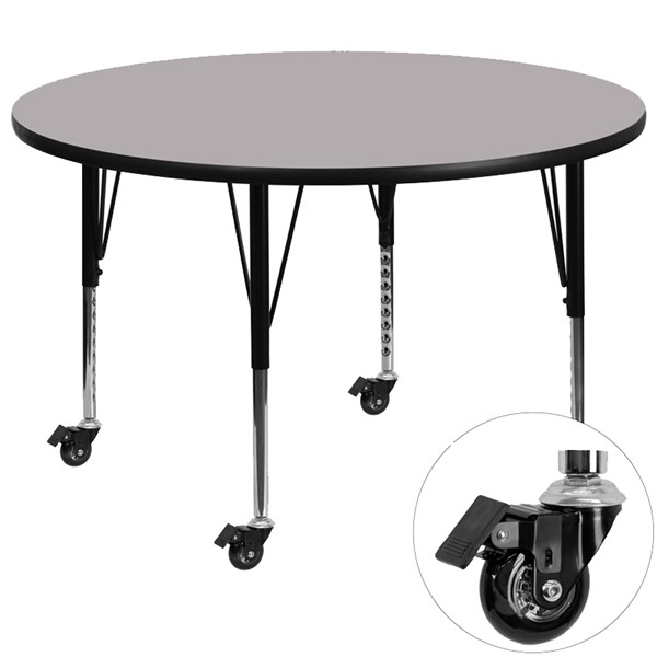 Flash Furniture Mobile 48 Inch Round Activity Table with Grey Thermal Fused Laminate Top FLF-XU-A48-RND-GY-T-P-CAS-GG