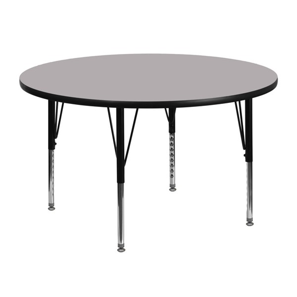 Flash Furniture 48 Inch Round Activity Table with Grey Thermal Fused Laminate Top FLF-XU-A48-RND-GY-T-P-GG