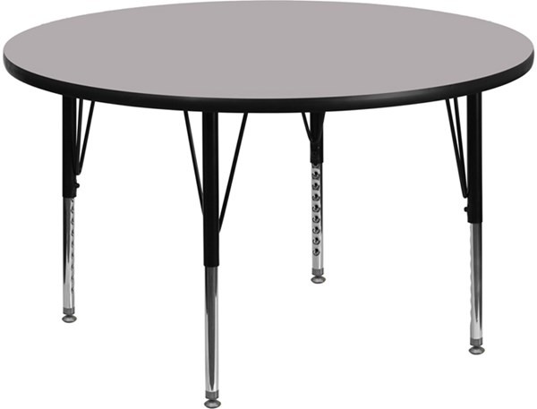 48 Inch Round Activity Table W/Grey Thermal Fused Laminate Top FLF-XU-A48-RND-GY-T-P-GG