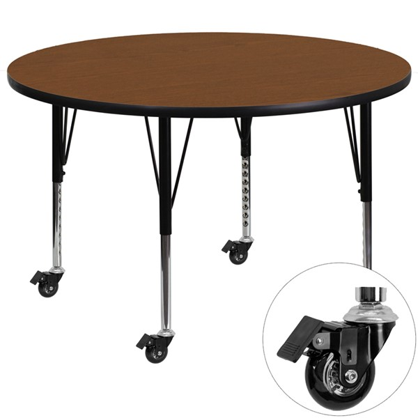 Flash Furniture Mobile 48 Inch Round Activity Table with 1.25 Inch Thick Oak Laminate Top FLF-XU-A48-RND-OAK-H-P-CAS-GG