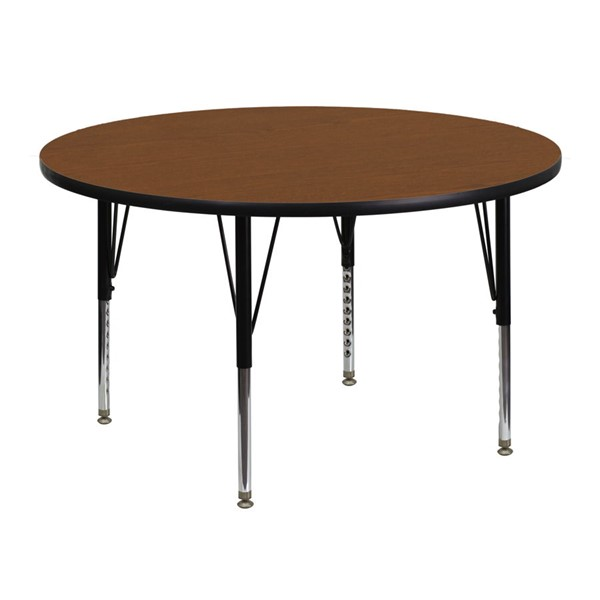 Flash Furniture 48 Inch Round Activity Table with 1.25 Inch Thick Oak Laminate Top FLF-XU-A48-RND-OAK-H-P-GG