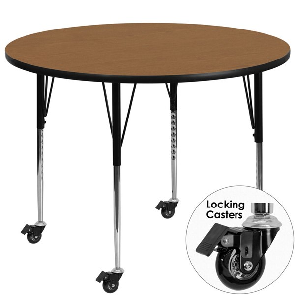 Flash Furniture Mobile 48 Inch Round Activity Table with Oak Thermal-Fused Laminate Top FLF-XU-A48-RND-OAK-T-A-CAS-GG