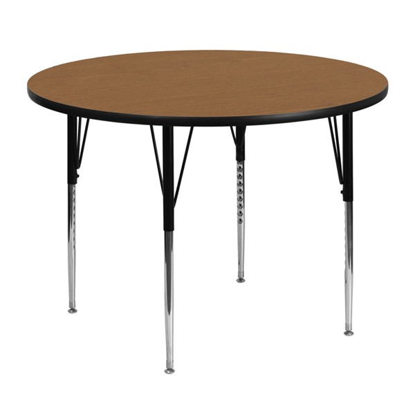 Flash Furniture Oak Wood Metal Round Adjustable Legs Activity Table FLF-XU-A48-RND-OAK-T-A-GG