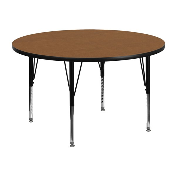Flash Furniture 48 Inch Round Activity Table with Oak Thermal Fused Laminate Top FLF-XU-A48-RND-OAK-T-P-GG