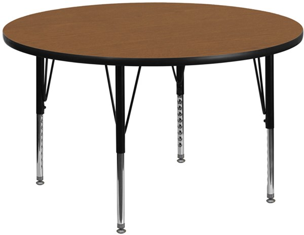 48 Inch Round Activity Table W/Oak Thermal Fused Laminate Top FLF-XU-A48-RND-OAK-T-P-GG