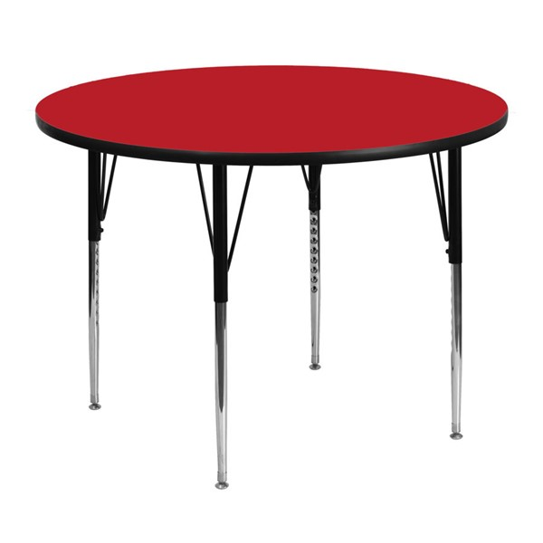 Flash Furniture 48 Inch Activity Table with 1.25 Inch Thick High Pressure Red Top FLF-XU-A48-RND-RED-H-A-GG