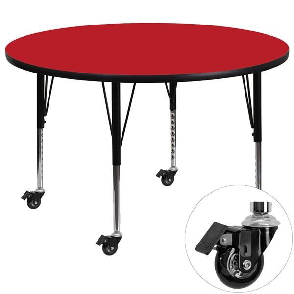 Flash Furniture Mobile 48 Inch Round Activity Table with 1.25 Inch Thick Red Laminate Top FLF-XU-A48-RND-RED-H-P-CAS-GG