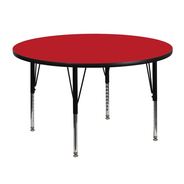 Flash Furniture 48 Inch Round Activity Table with 1.25 Inch Thick Red Laminate Top FLF-XU-A48-RND-RED-H-P-GG
