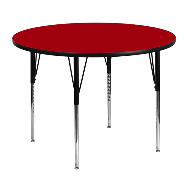 Flash Furniture Red Wood Metal Round Adjustable Legs Activity Table FLF-XU-A48-RND-RED-T-A-GG