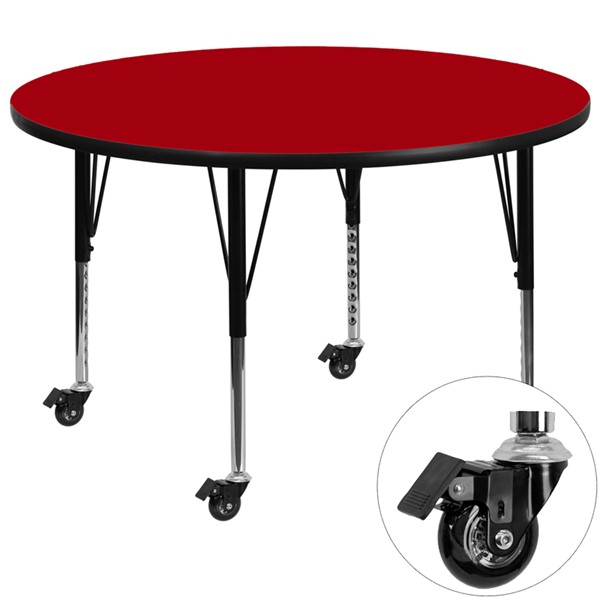 Flash Furniture Mobile 48 Inch Round Activity Table with Red Thermal Fused Laminate Top FLF-XU-A48-RND-RED-T-P-CAS-GG