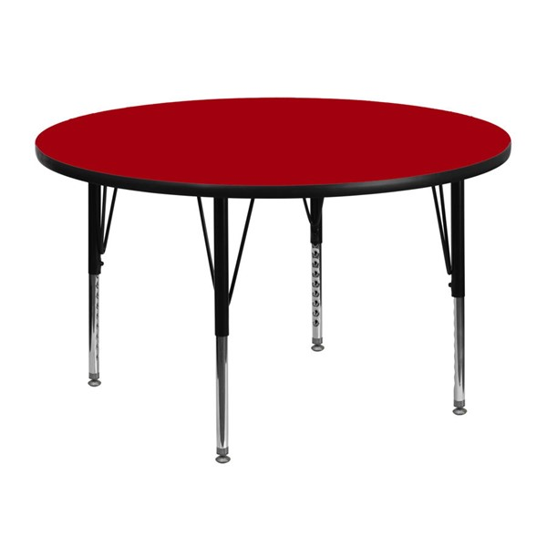 Flash Furniture 48 Inch Round Activity Table with Red Thermal Fused Laminate Top FLF-XU-A48-RND-RED-T-P-GG