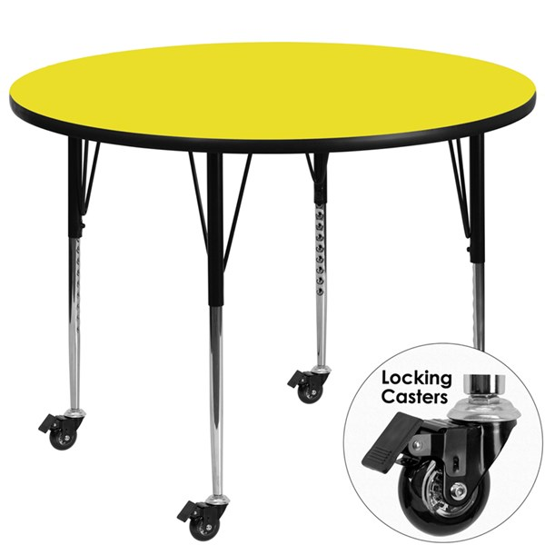 Mobile 48 Inch Round Activity Table W/1.25 Inch Yellow Laminate Top FLF-XU-A48-RND-YEL-H-A-CAS-GG