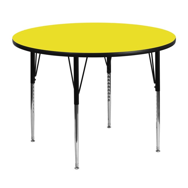 Flash Furniture 48 Inch Activity Table with 1.25 Inch Thick High Pressure Yellow Top FLF-XU-A48-RND-YEL-H-A-GG