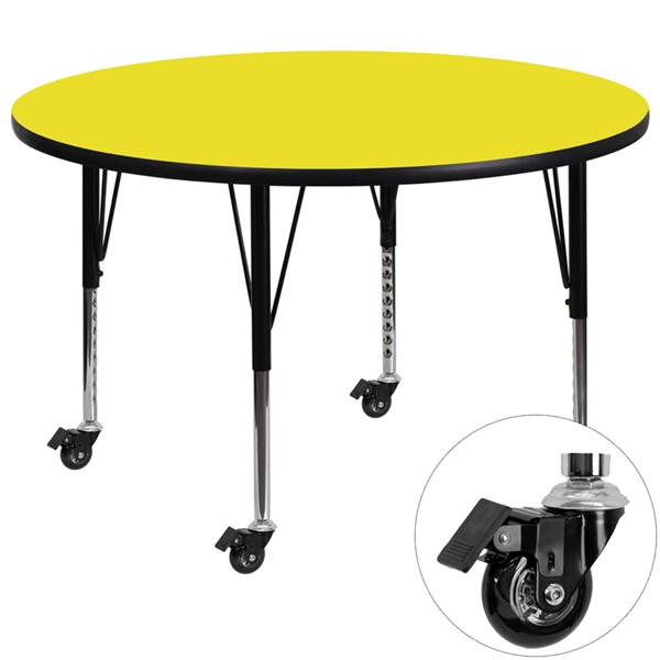 Flash Furniture Mobile 48 Inch Round Activity Table with 1.25 Inch Thick Yellow Laminate Top FLF-XU-A48-RND-YEL-H-P-CAS-GG
