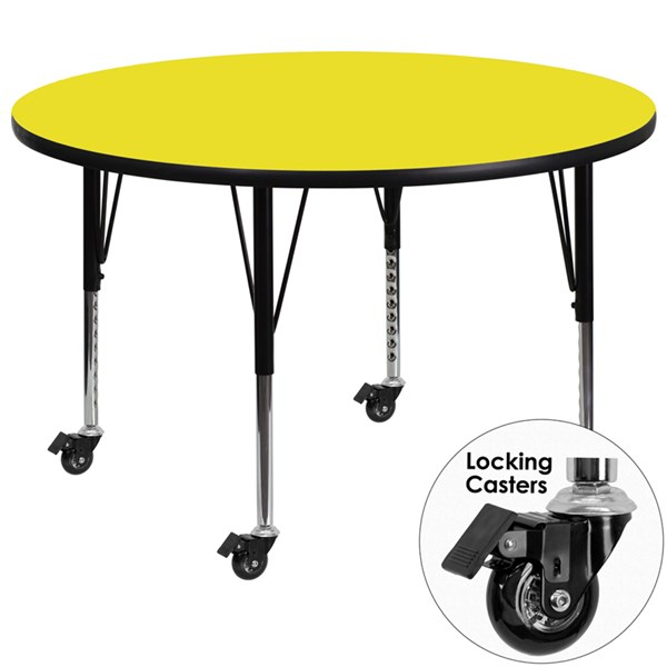 Mobile 48 Inch Activity Table W/1.25 Inch Thick Yellow Laminate Top FLF-XU-A48-RND-YEL-H-P-CAS-GG