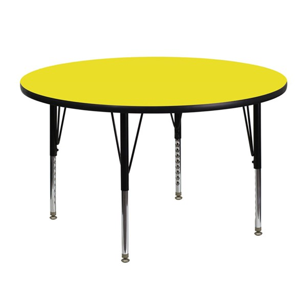 48 Inch Round Activity Table W/1.25 Inch Thick Yellow Laminate Top FLF-XU-A48-RND-YEL-H-P-GG